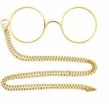 Gold pinnacle glasses & chain no lens Poirot 1920s Victorian Gent fancydress