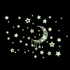 100Pcs DIY Stars Wall Sticker Glow In The Dark Fluorescent Kids Room Home Decor
