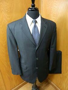 Calvin Klein Mens Suit   40s 32 x 28.5 Black Pinstripe 100% Wool  T-#91