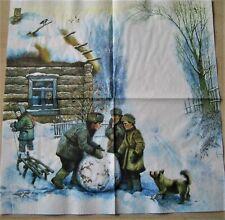 1 Lunch Papier Serviette Napkin (RS646) Kinder bauen Schneemann Hütte Hund