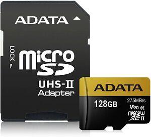 ADATA Premier ONE 128GB SDXC UHS-II U3 Class10 V90 3D NAND 4K 8K Ultra HD 275MB/