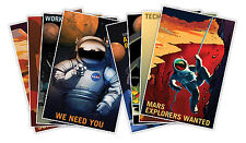SET of EIGHT (8) NASA Mission 2 Mars Outer Space Travel Recruitment Prints 18x24