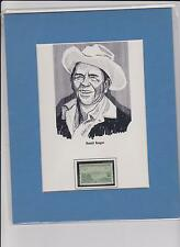 Ronald Reagan Matted Drawing with Postage Stamp