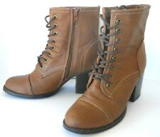 """Victorian-Style Steampunk Boots 9M Womens Lace Up Side Zip 3"""" Heel Faux Leather"""