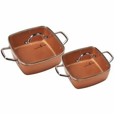 Copper Chef Deep Dish Pan Tempered Glass Lid Oven safe PTFE PTOA Free 4 Pc Set