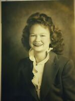 Vintage Old 1940's Tinted Colored Photo of Pretty Woman Girl Portrait