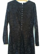 BUTTON BACK black crushed VELVET GOWN maxi dress witch goth wicca victorian L XL