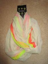 SCARF - D&Y - Figure 8 Scarf - White/Pink/Chartreuse - Continuous Scarf - NWT