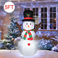 5FT Christmas Inflatable Snowman&Santa Claus Air Blown LED Light Outdoor Decor