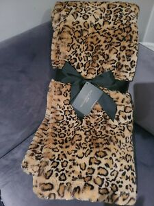 Magaschoni Faux Fur Throw Blanket BROWN COMBO Heavy Soft Thick and Luxurious!
