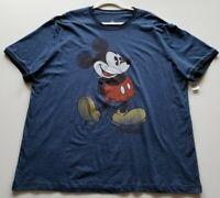 New Disney Parks Mickey Mouse Men's Short Sleeve Ringer T Shirt XL Blue Crewneck