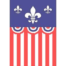 PATRIOTIC FLEUR DE LIS APPLIQUED HOUSE   FLAG - NEW