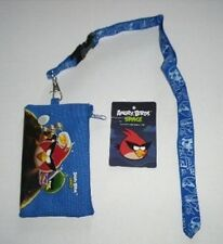 Blue Angry Bird Lanyard rovio Fast Pass ID Badge Holder with Zipper Wallet Pouch
