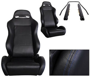 NEW 1 PAIR BLACK LEATHER + BLUE STITCH RACING SEATS ALL FORD ****