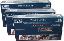 13Poly Disposable Foodservice Gloves 3 Box Pack (1500 Gloves) - Kuki Collection