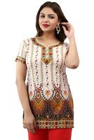 UK- stock New Women Indian Printed off white Crepe Silk Kurtis Tunic Top Kaftan