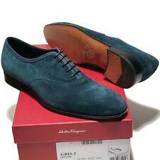 FERRAGAMO GRIS Blue Suede Leather Plain Toe Oxford 10 D Men's Dress Casual Shoes