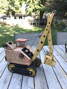 Vintage 1950-60 Nylint Big Dig Shovel Crane Pressed Steel - Orange & Yellow USA