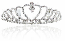 Rhinestone Crystal Heart Crown Headband Tiara Wedding Bridal Flower Girl Prom
