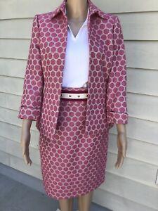 Isabella DeMarco Tahari Levine 2 Pink Beige Big Dot Skirt Open Front Jacket Suit