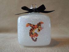 """Handmade Disney Winnie The Pooh """"Tigger"""" 2"""" Glass Square Ornament~Usa Made, New!"""