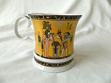 Egyptian Porcelain Mug Collectible King Tut Scribe Black Gold Pink # 4029 Sale