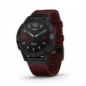 Garmin Fenix 6 Sapphire Black DLC with Heathered Red Nylon Band 010-02158-16