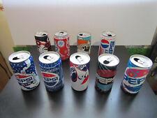 9 EMPTY 90'S CANADA POP SODA CANS - PEPSI COOL CANS - WINTER - COCA-COLA - A&W