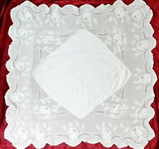 Mary Card Rose and Rosebud Filet Crochet Lace Linen Tablecloth Vintage