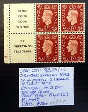 GB 1937 G.VI - 1½d Cyl Booklet Pane As Described NB3529