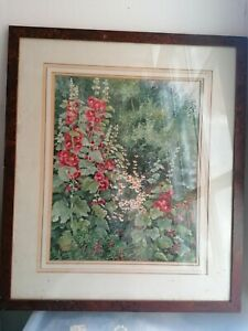 Beautiful 20th C Floral Watercolor In Burr Walnut Frame Signed