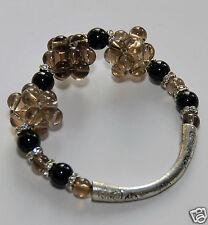 Elastic Smoky Quartze Black Agate Bangle Bracelet, fashion bangle