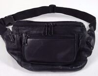 Fanny/Waist Pack, Soft Black Genuine Leather, 5 Zipper Pockets,  MINT!