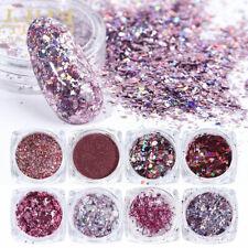 8x Holo Glitter Pink Mix Flakes Pailletten Nailart Glitzer Flitter Nail Design