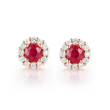 Solid 18K Rose Gold Ruby Round 3.3mm 0.54ct Diamonds Earrings Wedding Engagement