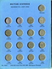 gb whitman folder of sixpences 1937-1967,has the scarce 1952,2 coins missing