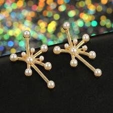 Fashion Women Stylist Irregular Shape Pearl Decorate Ear Stud Earrings Jewelry