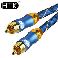 EMK Speaker RCA to RCA Coaxial Stereo Audio Cable TV DVD Subwoofer 3ft 6ft 16ft