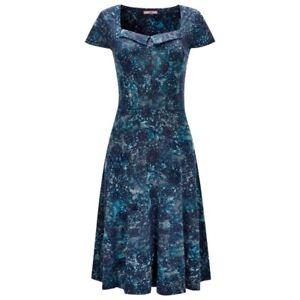 JOE BROWN WOMENS FABULOUS FLOCKED BLUE FLORAL JERSEY DRESS TUNIC SZ 8-12 RRP.£45