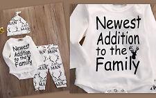 NEU Set  3Tlg. Body & Hose & Cap Newest Addition to the Family Print Gr.62-68 F3