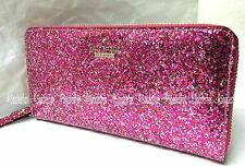 Kate Spade PWRU4540 Glitter Bug LACEY Zip Wallet RED MULTI Hot Pink NWT in Box