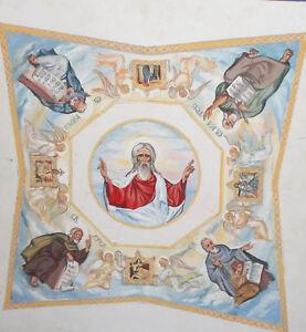 Vintage religious gouache painting icon saints portrait