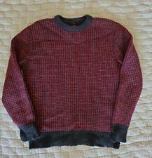 LL Bean Signature NORWEGIAN BIRDSEYE FISHERMAN SWEATER Red Gray 100% wool