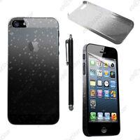 Housse Etui Coque Rigide Motif Gouttelettes Noir Apple iPhone SE 5S 5 + Stylet