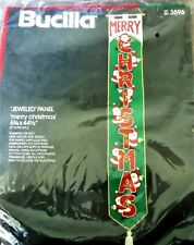 Bucilla MERRY CHRISTMAS SANTAS JEWELED Wall Hanging Sealed Kit