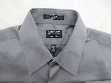Arrow Mens Shirt Medium 32/33 Gray Button Down Long Sleeve Sateen Fitted