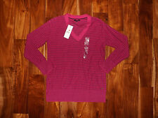 NWT Womens TOMMY HILFIGER Pink Purple Stripe V-Neck Long Sleeve Sweater Shirt S