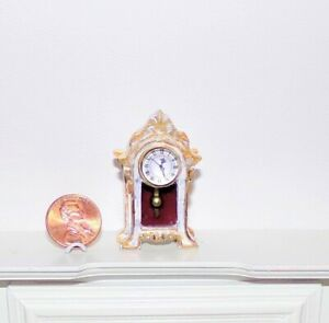 New 1:12 OOAK Lovely Ornate White/Gold Shabby Chic Dollhouse Miniature Clock $59