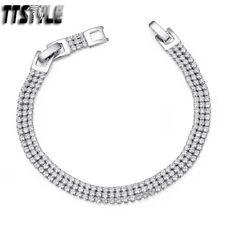 TTStyle 7mm Width 18K White Gold Filled Sparkling Bracelet NEW