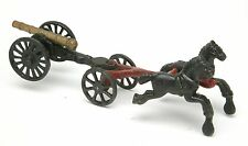 """Vintage Cast Iron Toy """"Two Horses & Cannon. Four Wheels""""."""